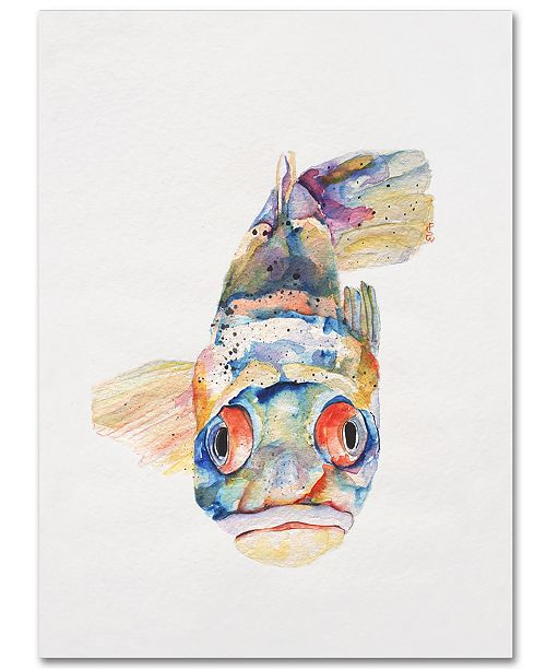 "Trademark Global Pat Saunders-White 'Blue Fish' 18"" x 24"" Canvas Wall Art"