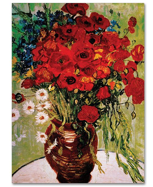 Trademark Global Vincent Van Gogh Vase With Daisies And Poppies 35