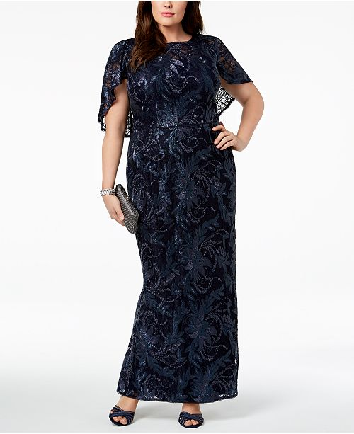 Adrianna Papell Plus Size Caped Lace Gown & Reviews - Dresses ...
