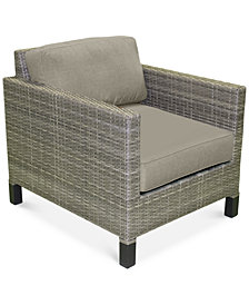 North Port Wicker Outdoor Club Chair with Custom Sunbrella® Cushion, Created for Macy's