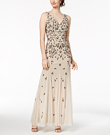Adrianna Papell V-Neck Floral Beaded Gown