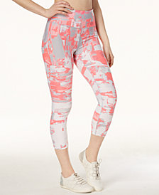 Calvin Klein Performance Collage-Print High-Waist Cropped Leggings