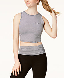 Calvin Klein Performance Striped Twist-Back Cropped Tank Top