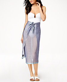 Calvin Klein Chevron Chambray Cover-Up & Scarf