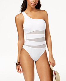 Kenneth Cole One-Shoulder Cutout Mesh One-Piece Swimsuit