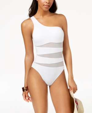 82a0f979d6 Kenneth Cole One-Shoulder Cutout Mesh One-Piece Swimsuit Women S Swimsuit  In White