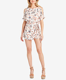 Jessica Simpson Juniors' Dolly Printed Cold-Shoulder Romper
