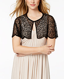 Adrianna Papell Flutter-Sleeve Embellished Capelet