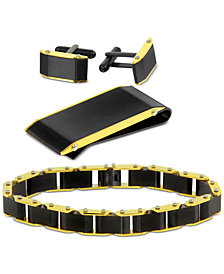 Men's Two-Tone 3-Pc. Set Link Bracelet, Cuff Links & Money Clip in Stainless Steel