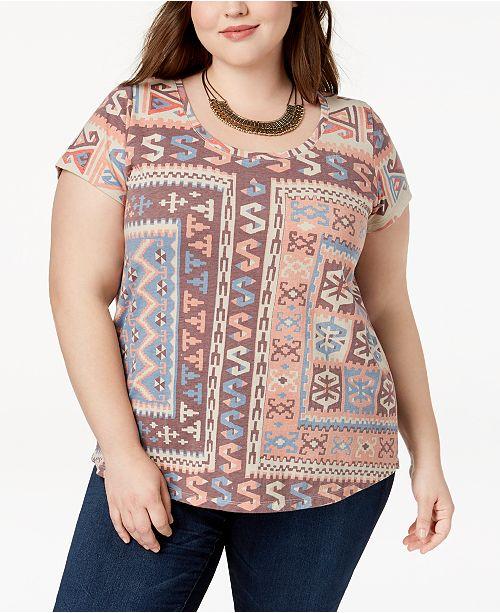 b9cf380c406 Lucky Brand Trendy Plus Size Printed T-Shirt - Tops - Plus Sizes ...