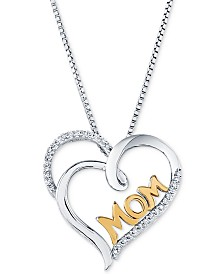 "Diamond Two-Tone ""Mom"" Heart 18"" Pendant Necklace (1/10 ct. t.w.) in Sterling Silver & 14k Gold"