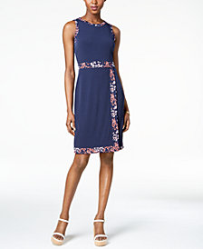 MICHAEL Michael Kors Border-Print Faux-Wrap Dress