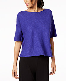 Eileen Fisher Organic Linen Boat-Neck Sweater, Regular & Petite