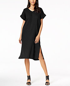 Eileen Fisher Organic Cotton V-Neck Shift Dress