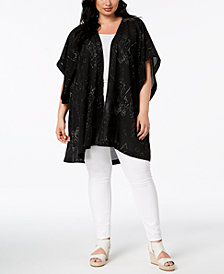 Eileen Fisher Plus Size Silk Blend Printed Kimono