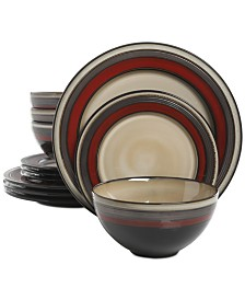 Gibson Everston Red 12-Pc. Dinnerware Set, Service for 4