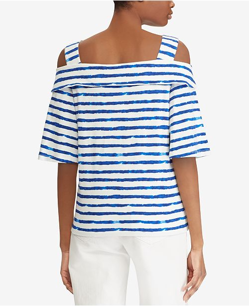 b52dfb1561c618 Lauren Ralph Lauren Petite Striped Cold-Shoulder Cotton Top - Tops ...