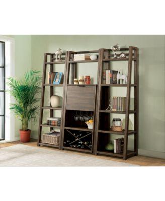 Ridgeway 3-Pc. Bar Wall Set (Bar Cabinet & 2 Leaning Bookcases)