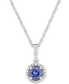 """Tanzanite (1/2 ct. t.w.) & Diamond (1/10 ct. t.w.) 18"""" Pendant Necklace in 14k White Gold"""
