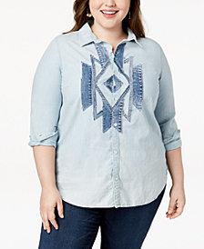 Lucky Brand Trendy Plus Size Cotton Denim-Patch Shirt