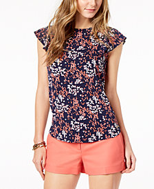 MICHAEL Michael Kors Floral-Print Flutter-Sleeve Top in Regular & Petite Sizes