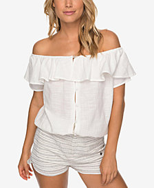 Roxy Juniors' Cotton Off-The-Shoulder Blouse