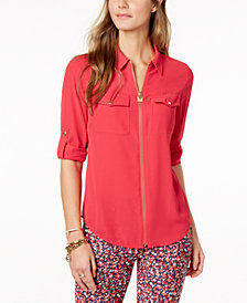 MICHAEL Michael Kors Lock Zip-Front Shirt in Regular & Petite Sizes, Created for Macy's