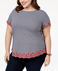 Charter Club Plus Size Cotton Striped Embroidered T-Shirt, Created for Macy's