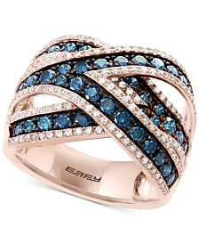 Bella Bleu by EFFY® Diamond Crisscross Statement Ring (1-3/4 ct. t.w.) in 14k Rose Gold
