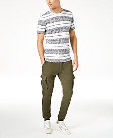American Rag Bold Striped T-Shirt & Cargo Knit Jogger Pants, Created for Macy's