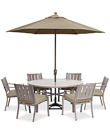 "Wayland Outdoor Aluminum 7-Pc. Dining Set (60"" Round Dining Table & 6 Dining Chairs) with Sunbrella® Cushions, Created for Macy's"