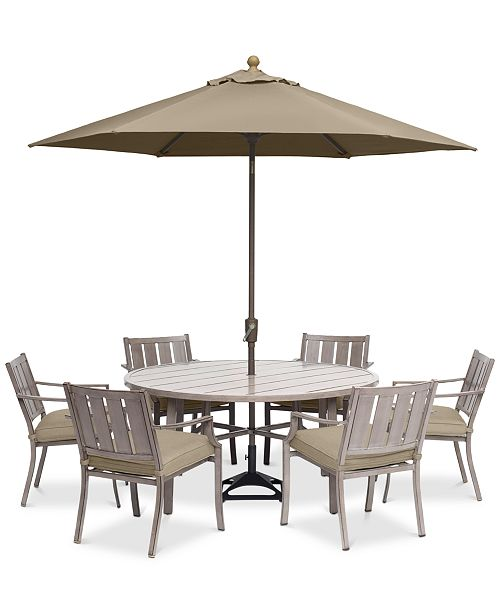 Furniture Wayland Outdoor Aluminum 7 Pc Dining Set 60 Round Dining Table 6 Dining Chairs With Sunbrella Cushions Created For Macy S Reviews Furniture Macy S
