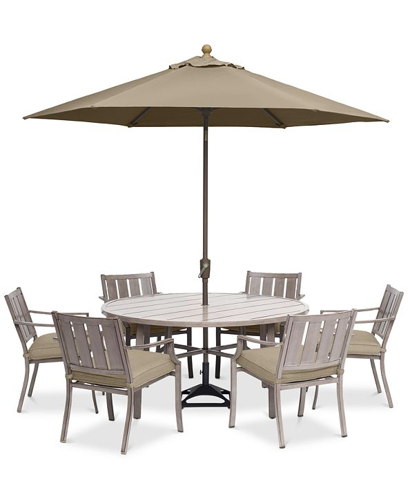 "Furniture Wayland Outdoor Aluminum 7-Pc. Dining Set (60"" Round Dining Table & 6 Dining Chairs) with Sunbrella® Cushions, Created for Macy's"