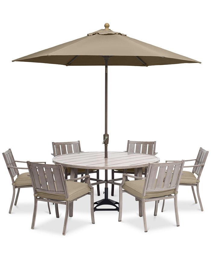 """Furniture - Wayland Outdoor Aluminum 7-Pc. Dining Set (60"""" Round Dining Table & 6 Dining Chairs) with Sunbrella® Cushions"""