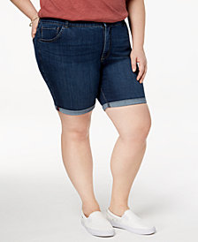 Lee Platinum Plus Size Roll-Cuff Denim Shorts