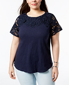 Charter Club Plus Size Cotton Crochet-Detailed T-Shirt, Created for Macy's