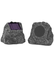 2-Pk. Solar Bluetooth Outdoor Rock Speakers