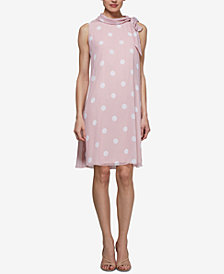 SL Fashions Polka Dot Mock-Neck Dress