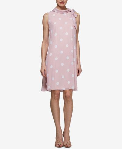 SL Fashions Polka Dot Mock-Neck Dress