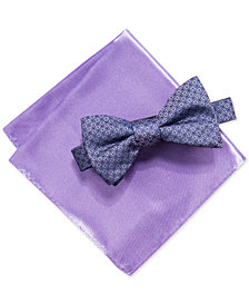 Alfani Men's Basketweave Pre-Tied Bowtie & Pocket Square Set, Created for Macy's