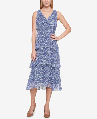 Tommy Hilfiger Tiered Chiffon Midi Dress