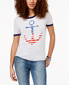 Pretty Rebellious Juniors' Anchor-Graphic T-Shirt