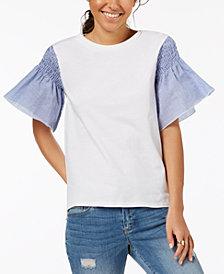 One Hart Juniors' Seersucker-Sleeve Top, Created for Macy's