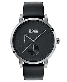 BOSS Hugo Boss Men's Oxygen Black Leather Strap Watch 42mm