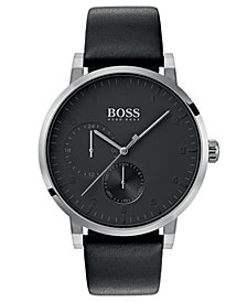 BOSS Hugo Boss Men's Oxygen Black Leather Strap Watch 42mm