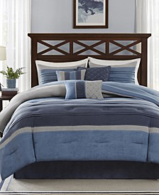 Collins 7-Pc. Faux-Suede Queen Comforter Set
