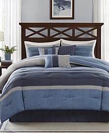 Madison Park Collins 7-Pc. Faux-Suede Queen Comforter Set