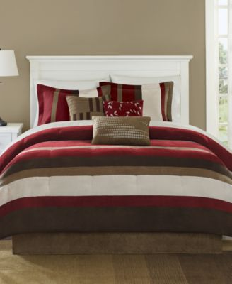 Boulder Stripe 7-Pc. Faux-Suede Queen Comforter Set