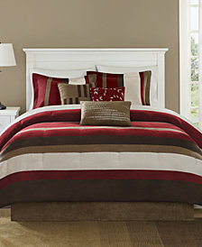 Madison Park Boulder Stripe 7-Pc. Faux-Suede Queen Comforter Set