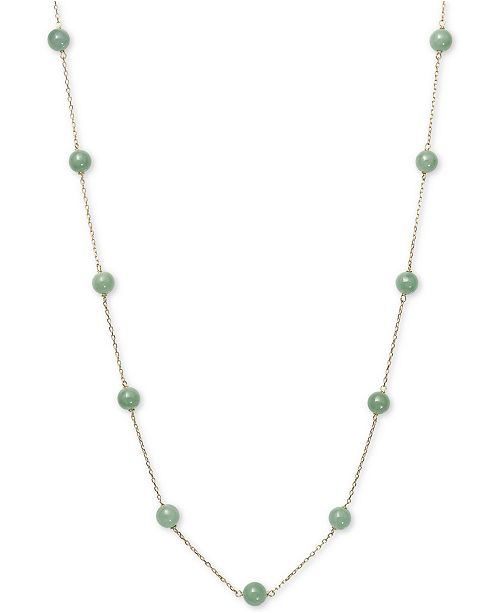 """Macy's Dyed Jade  (6mm) 18"""" Statement Necklace in 10k Gold"""